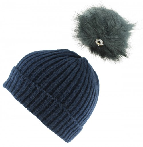 Zelly Detachable Bobble Beanie Hat in Navy