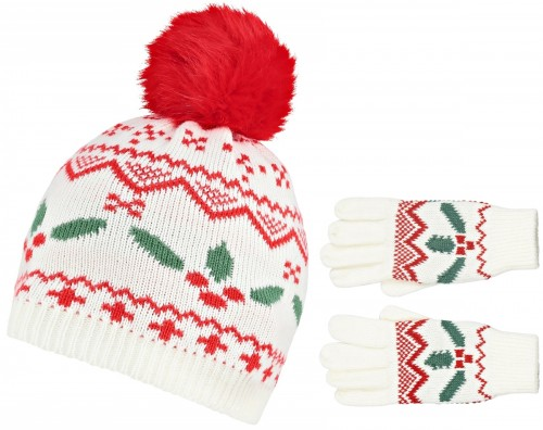 Boardman Holly Bobble Hat with Matching Gloves