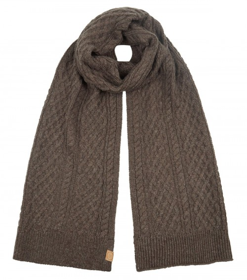 Boardman Cable Knit Scarf in Brown