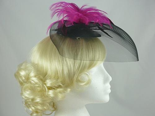 Bright Feather & Veil Fascinator
