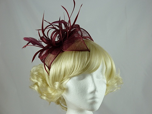 Wedding Hats 4u Vivienne Fascinator In Burgundy