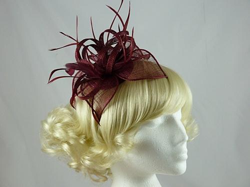 15d506000805 Ascot Hats 4U - Vivienne Fascinator in Burgundy