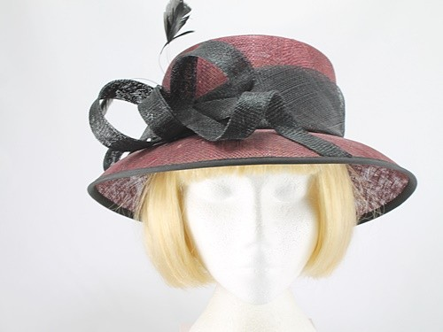 Burgundy and Black Wedding Hat