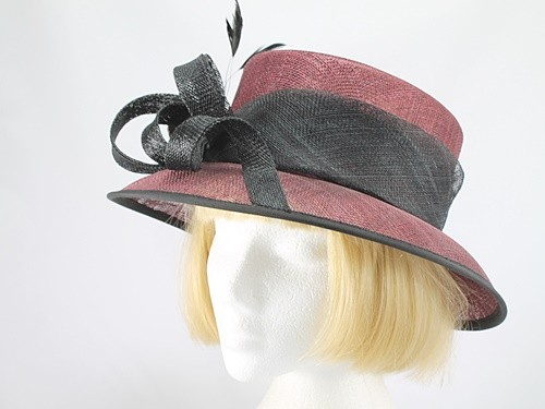 Burgundy and Black Wedding Hat