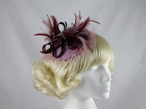 e6efb39ca17 Wedding Hats 4U - Burgundy and Pink Fascinator