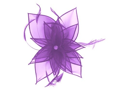 Failsworth Millinery Diamante Organza Fascinator in Violet