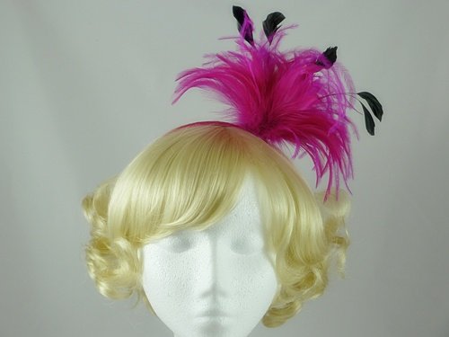Cerise Feather Fascinator