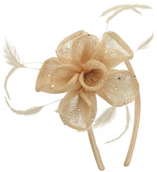 Elegance Collection Diamante Flower Fascinator in Chalk