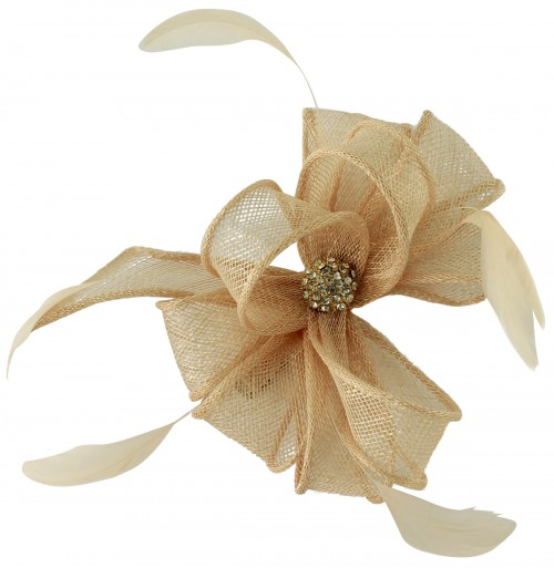 Elegance Collection Small Clip Fascinator with Matching Sinamay Bag