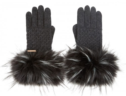 Alice Hannah Knitted Gloves in Charcoal