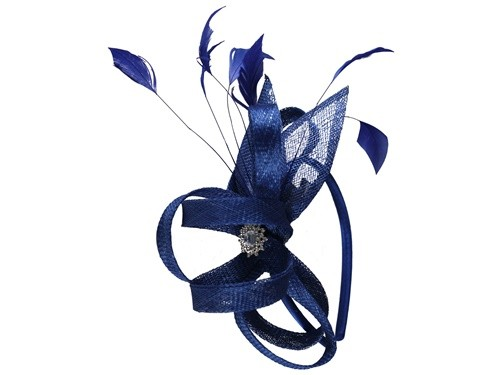 Elegance Collection Fascinator with Diamante in Cobalt