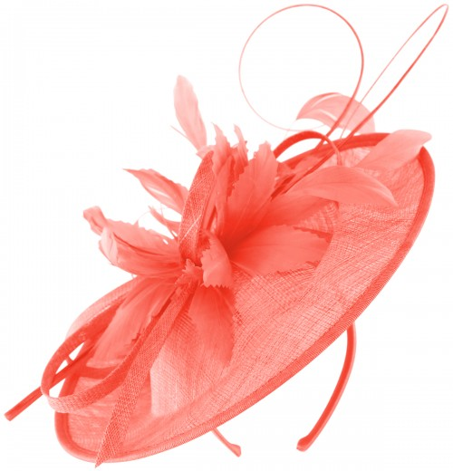 Failsworth Millinery Shaped Sinamay Disc in Coral (SS19)