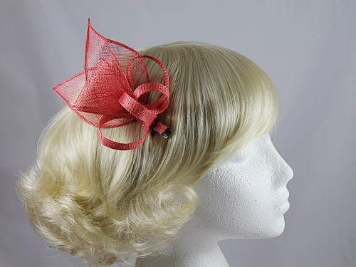 Fascinators 4 Weddings - Elegance Collection Small Sinamay Fascinator in  Coral 7dce1152445