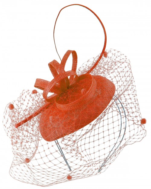 Max and Ellie Pillbox Fascinator in Coral
