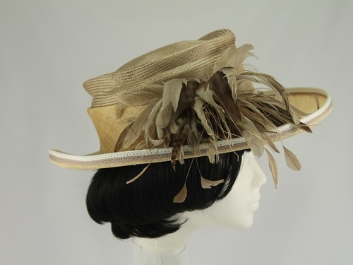 Corn and Taupe Formal Hat