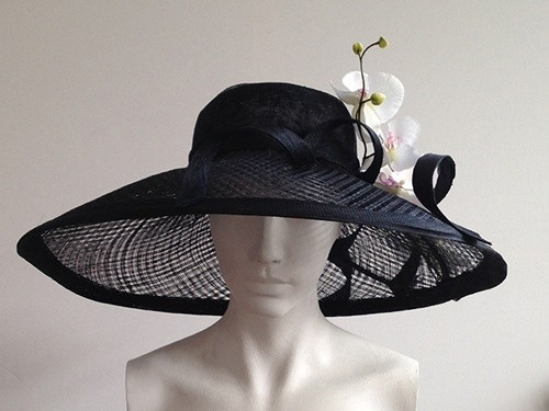 Wedding Hats 4U - Couture by Beth Hirst Belle Large Black Wide Brimmed Hat 29f22ac3c12