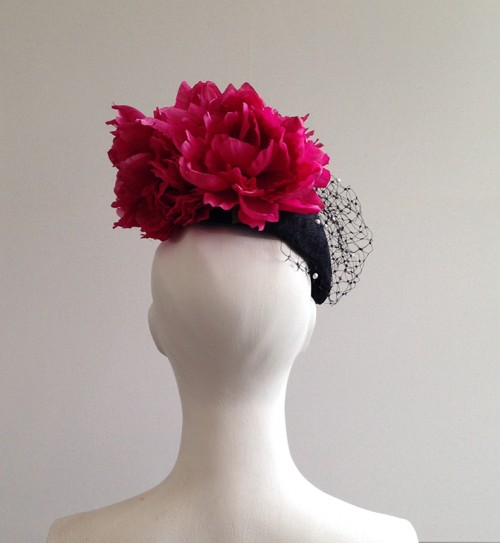 Couture by Beth Hirst Catherine � Black Veiled Beret with pink Flowers
