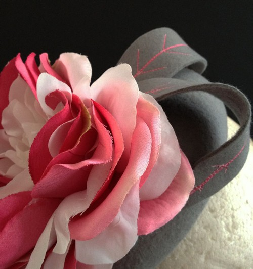Couture by Beth Hirst Grey Felt with Silk Roses