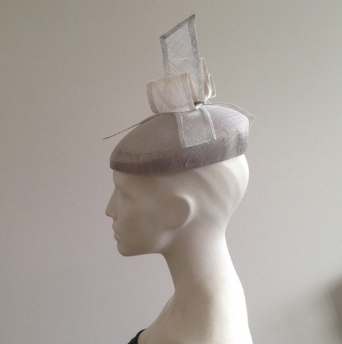 Couture by Beth Hirst Henrietta – Silver Large Beret with Bow