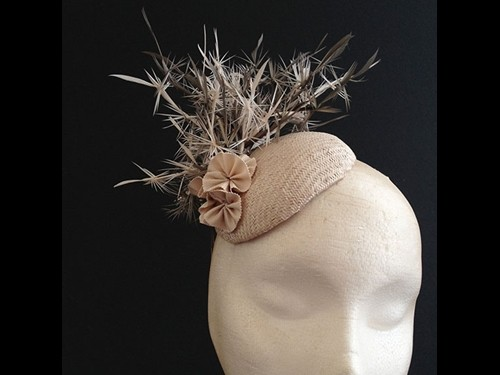Couture by Beth Hirst Nude Straw with Spiky Feathers