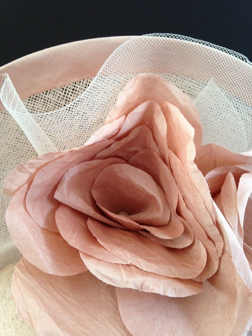 Couture by Beth Hirst Peach Nude Saucer with Silk Flowers