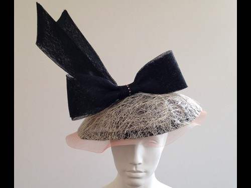 Couture by Beth Hirst Piggy Striking Dioresque brim with Large Bow