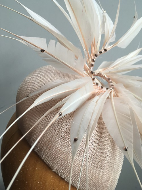 Couture by Beth Hirst Pointed Feathers Nude Beret with Rose Gold Swarovs