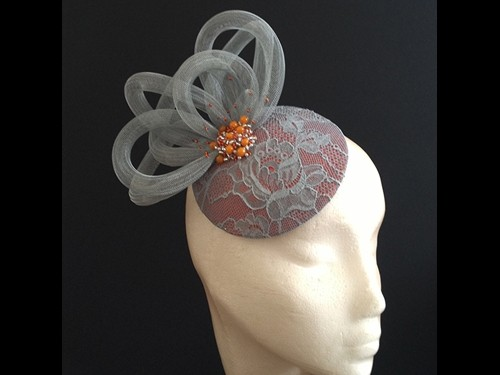 Couture by Beth Hirst Silver Lace and Orange beaded button