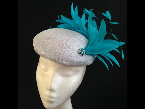 Couture by Beth Hirst Silver and Teal Beret