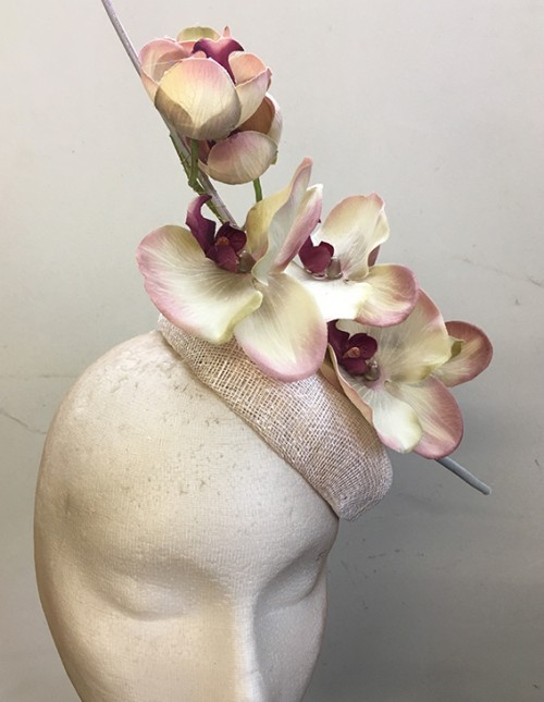 Couture by Beth Hirst Striking Cream Pink and Silver Orchid Button Beret