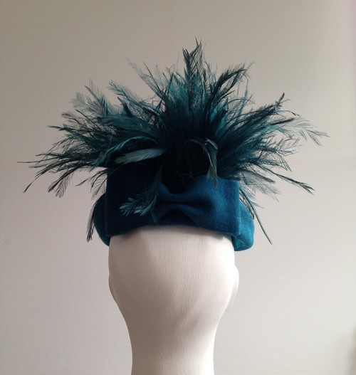 Couture by Beth Hirst Zoot Teal beret with emu feather pom