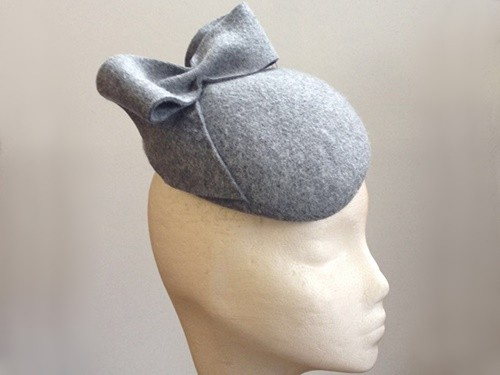 Couture by Beth Hirst Kitty Grey Marl Ear Bow Beret