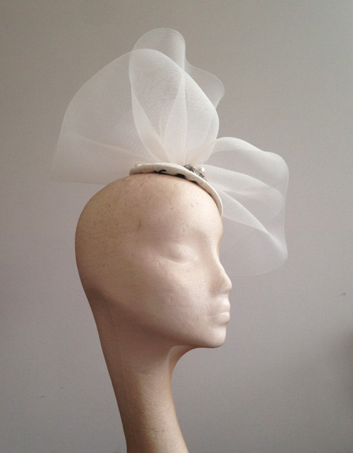 Couture by Beth Hirst Large Ivory Crin Wave on a silk hat