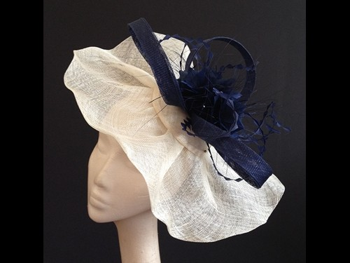 Couture by Beth Hirst Large Ivory and Navy Flower Swirl