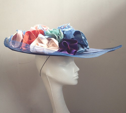 Wedding hats 4u couture by beth hirst navy large saucer with couture by beth hirst navy large saucer with multicolour silk flowers mightylinksfo