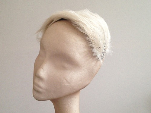 Couture by Beth Hirst Pale Latte Feather Headpiece wt swarovski crystals