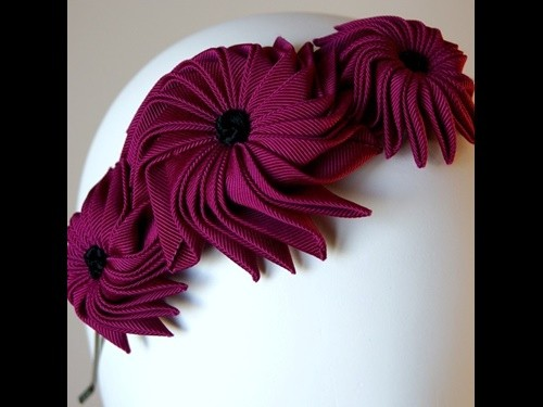 Esther Louise Millinery Origami Ribbon Flowers Headpiece