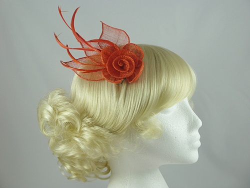 Double Flower & Leaves Fascinator