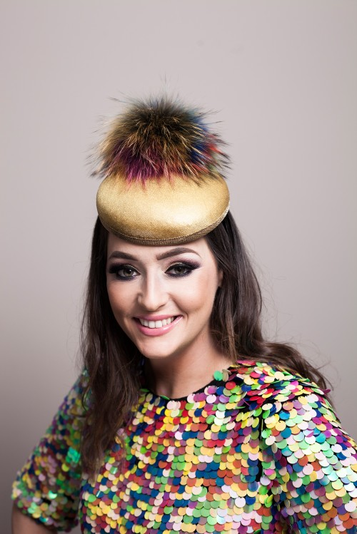Deb Fanning Millinery Electra Gold Smartie Hat with Faux Fur Pom Pom