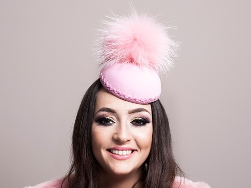 Deb Fanning Millinery Electra Pink Smartie Hat with Faux Fur Pom Pom