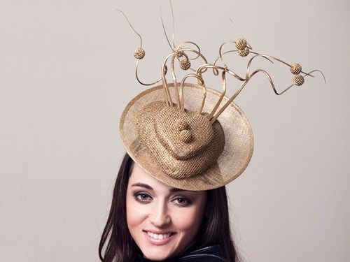 Deb Fanning Millinery Gold Disc Heart Hat
