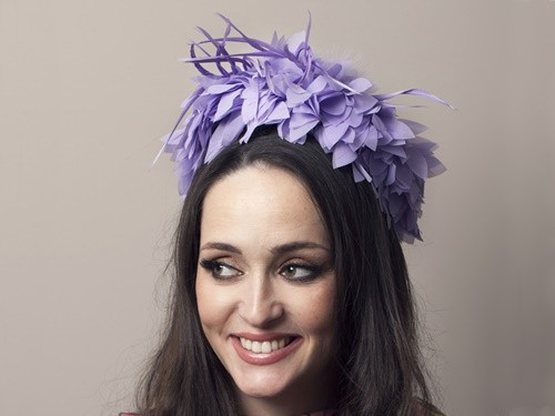 Deb Fanning Millinery Lilac Feathered Pillbox Hat