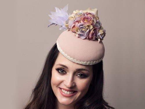 Deb Fanning Millinery Nude Flowered & Feathered Hat