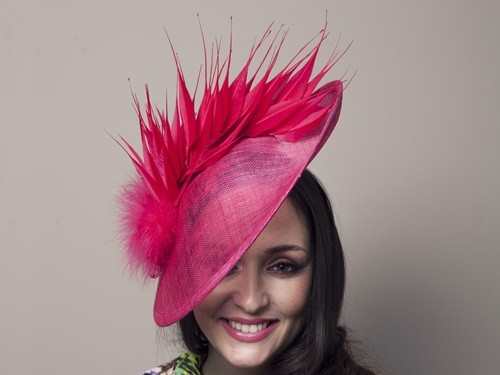 Deb Fanning Millinery Pink Feathered Sinamay Hat