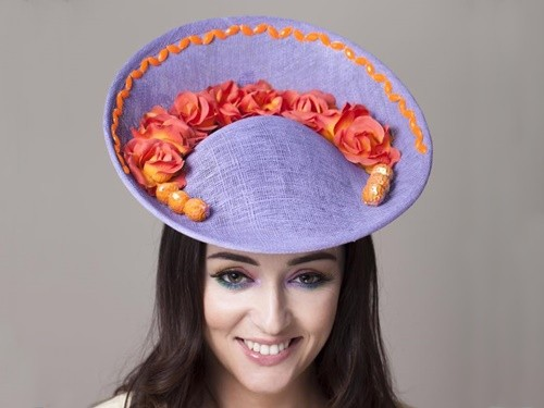 Deb Fanning Millinery Purple Saucer Hat with Orange Roses and Beading