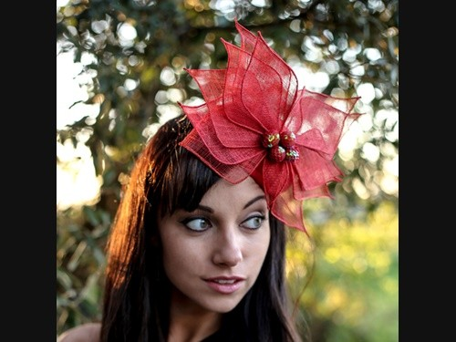 Deb Fanning Millinery Red Button with Candy Beads