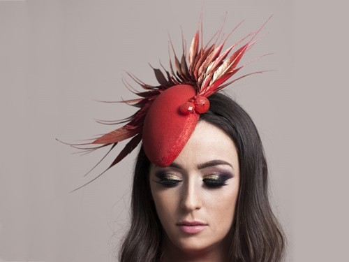 Deb Fanning Millinery Red Feathered Tear Drop Headpiece