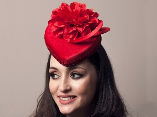 Deb Fanning Millinery Red Velvet Heart Hat