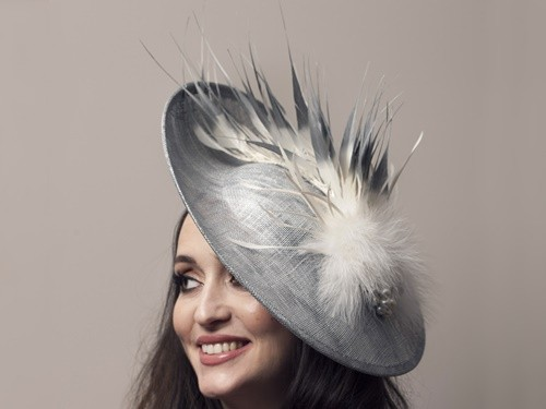 Deb Fanning Millinery Silver Sinamay Hat with Feathers