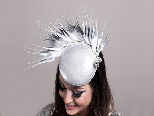 Deb Fanning Millinery Silver Smartie Hat with Silver and White Feathers